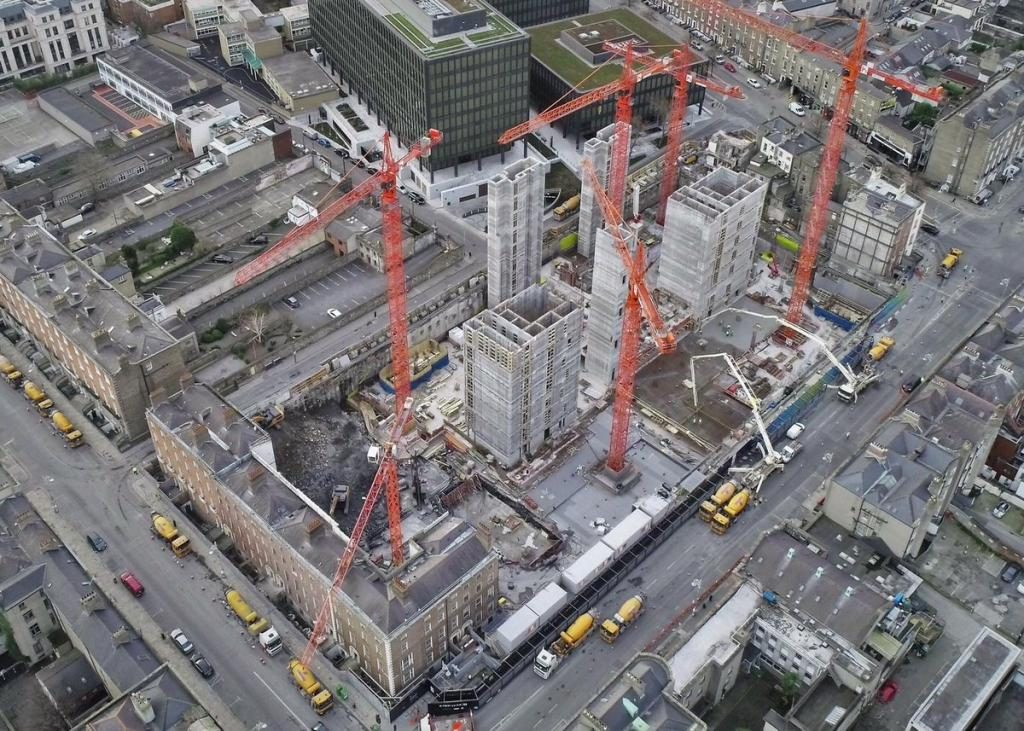 An Arial view of the ESB Project Fitzwilliam site, with a current count of 6 cranes