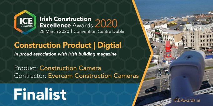 Irish construction awards 2020, product : construction cameras, contractor: Evercam