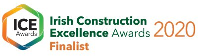 This is the logo of Irish Construction Excellence Awards.