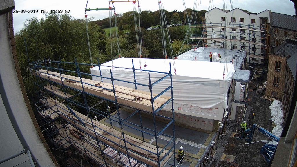 Camera view of the modular home construction in progress by Evercam
