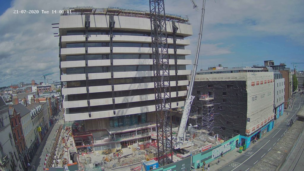 Camera 1 view of central plaza construction project