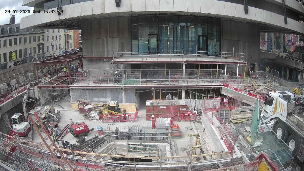 Third camera view of central plaza construction project