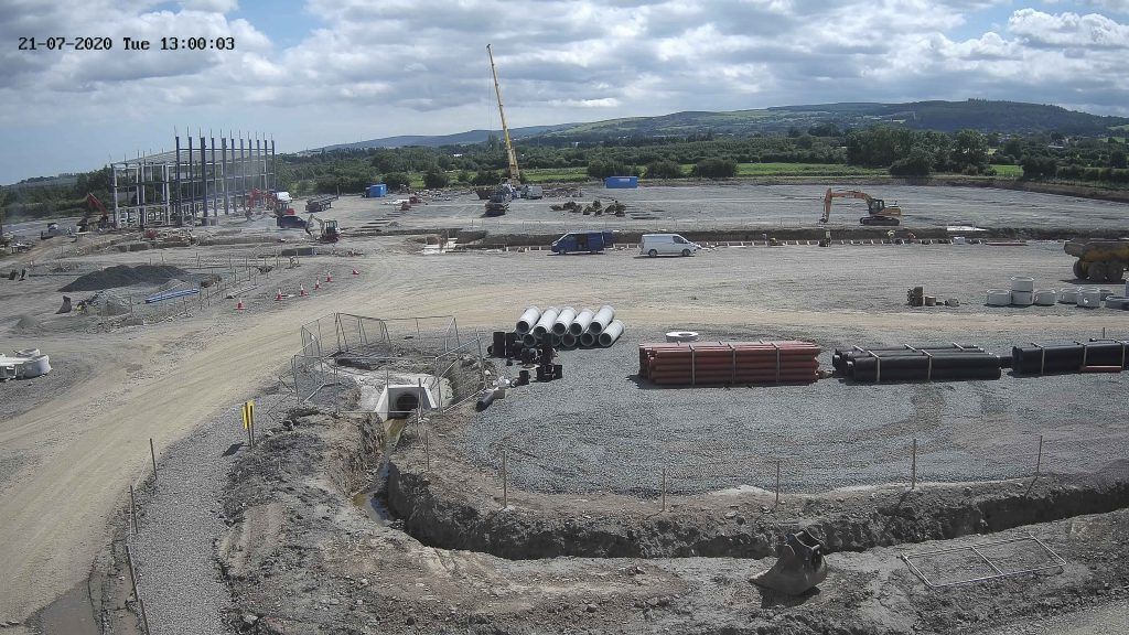 Camera view of Unit A construction site