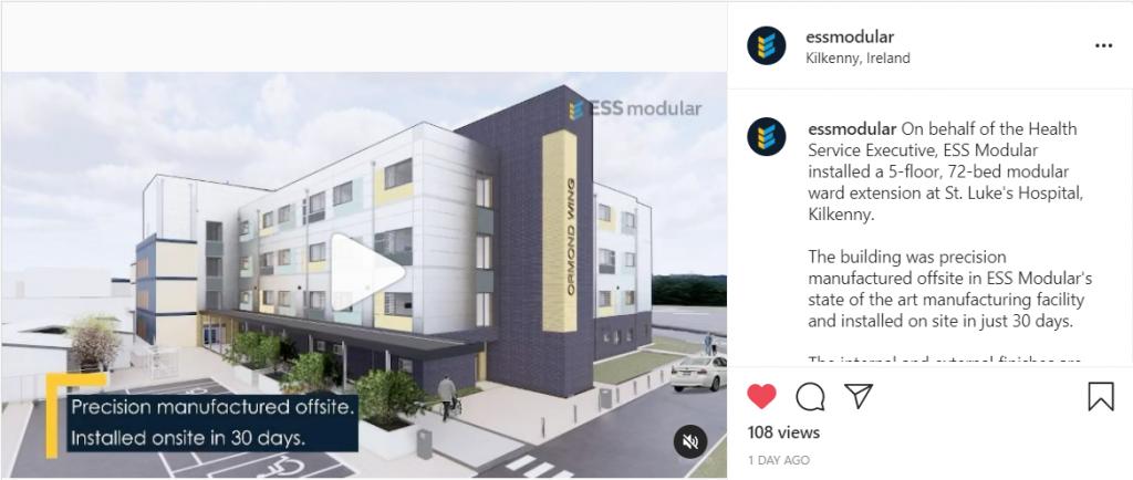 essmodular's Instagram post  of St. Luke's Hospital Kilkenny